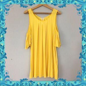 [Max Studio] Yellow striped cold-shoulder blouse